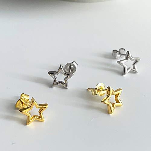 LIEQUAN Temperamento Estrella de Cinco Puntas pequeños Pendientes de Hebilla de Oreja Salvaje Fresca s925 Pendientes de Estrella de Plata esterlina Femenina(Oro Blanco)