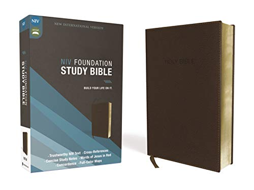 Compare Textbook Prices for NIV, Foundation Study Bible, Leathersoft, Brown, Red Letter Illustrated Edition ISBN 9780310441878 by Zondervan