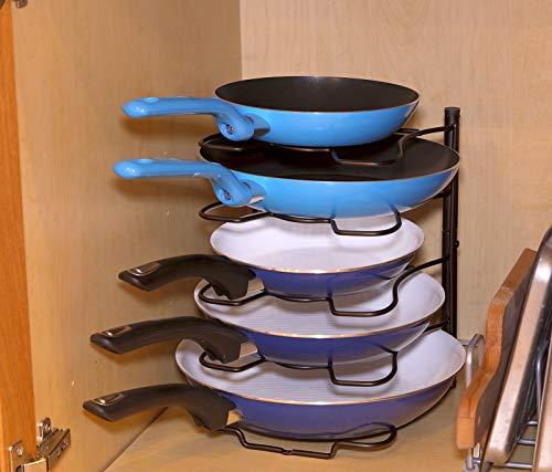 SimpleHouseware Cabinet Pantry Pot and Pan Organizer Holder Rack, Bronze