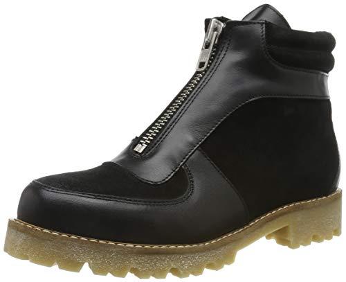 Pieces Psherla Leather Boot, Botines Femme, Noir (Black Black), 38 EU