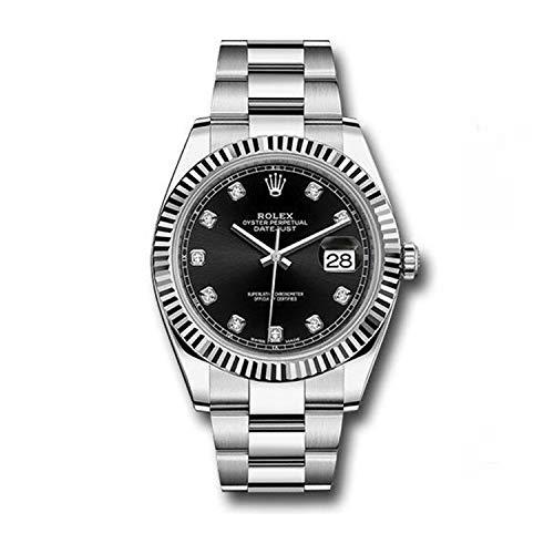 Datejust 41 126334 - Reloj de diamante con esfera negra de 41 mm
