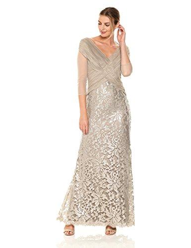 Tadashi Shoji Women's Mesh and Sequin Gown, Primrose, 12 (Apparel)