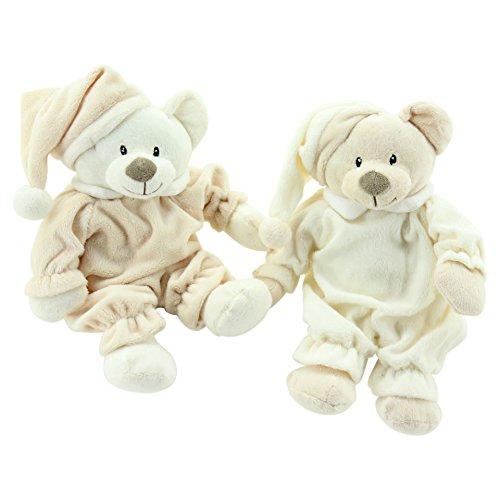 Sweety-Toys 6267 Set Sleepy Teddybär Kuschelbär 1 Schlafbär 31 cm beige & 1 Schlafbär 31 cm braun