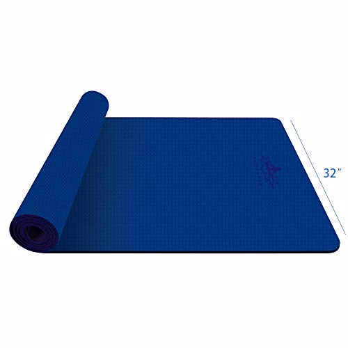 """Hatha Yoga Large TPE Yoga Mat - 72""""x 32"""" x 1/4 inch -Eco Friendly SGS Certified -Non Slip Bolster with Carrying Bag for Home Gym, Pilates & Floor Outdoor Exercises (Blue)"""
