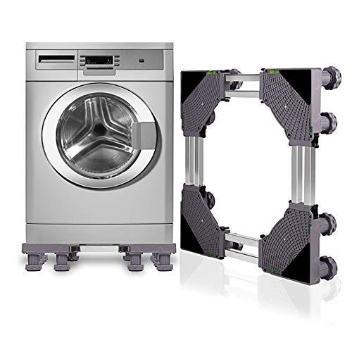SMONTER Untergestell Waschmaschine Sockel verschiebbar Podeste & Rahmen für Kühlschrank Multifunktionaler beweglicher Verstellbare Stand für Trockner oder Gefrierschrank,12Füße,Grau
