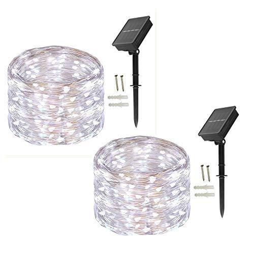 BXROIU Cadena de luces solares exteriores, [2 unidades] 100 LED,Guirnaldas Luces Exterior...