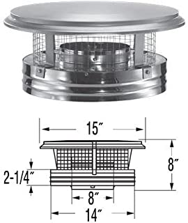 Simpson Duravent 8DP-VC DuraPlus Collection Class-A Chimney Pipe Chimney Cap With Spark Arrestor, Stainless Steel, Removable Screws, 8
