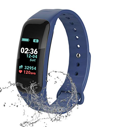 Fitness Tracker,Activity Tracker Watch with Heart Rate Blood Pressure Blood Oxygen Monitor,Waterproof Smart Fitness Band with Step Counter,Calorie Counter,Sleep Monitor for Kids Women Man (blue)