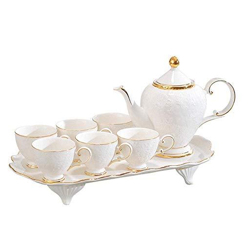 HCFSUK Porcelain Tea Set Afternoon Tea Sets with Afternoon Tea Tea Set Set Household Tray with Living Room Water Cup Teapot Water Set Ceramic,Lid Cup