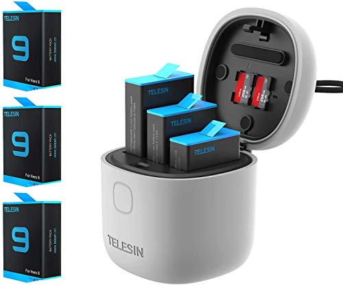 TELESIN AllinBox Ladegerät und SD-Kartenleser-Set, Dreifach-Ladegerät für GoPro Hero 9, Schwarz (Allinbox-Ladegerät + 3 Batterien)