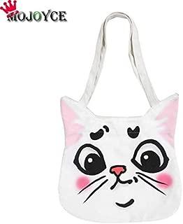 Gimax Top-Handle Bags - Cartoon Animal Printed Simple Casual Handbags Women Girls Fashion Canvas Beach Shoulder Bags Shopping Totes - (Color: Cat)