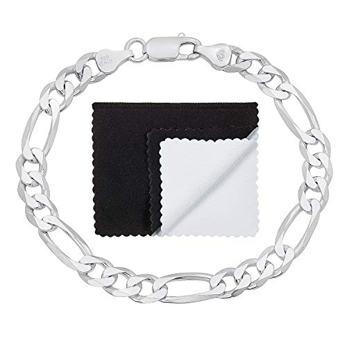 7mm High-Polished .925 Sterling Silver Flat Mariner Figaro Chain Link Bracelet, 7 inches + Jewelry Cloth & Pouch