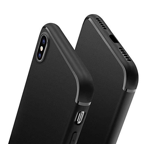 Preisvergleich Produktbild wsky Handyhülle Kompatibel mit iPhone X / 10,  Ultra Dünn Schwarz silikon hülle,  Anti-Fingerabdruck Inner Stoßfestes TPU Case Cover für iPhone X