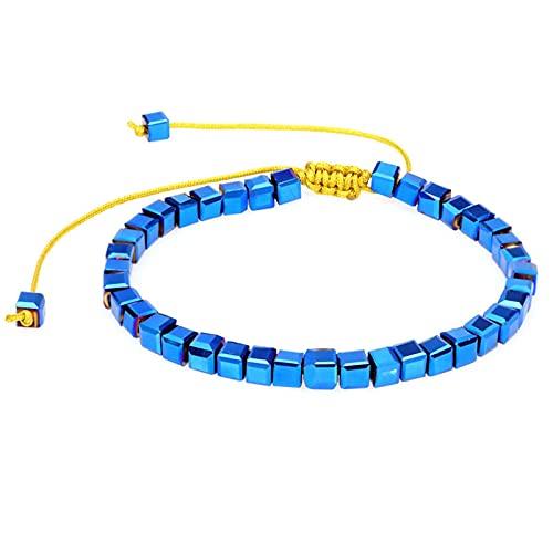 1 pulsera azul tejida a mano cuentas de cristal cuadradas tejidas a mano