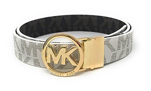 MICHAEL Michael Kors Belt with MK Logo Plaque (Large), Off-white, Gold-tone Metallic
