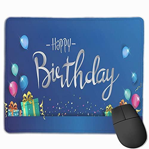 Gaming-Mauspad, Premium-strukturierte Mauspad-Pads, niedliches Mousepad für Spieler, Büro- und Heimblau-Happy-Birthday-Ballon-Konfetti und Box-Feier