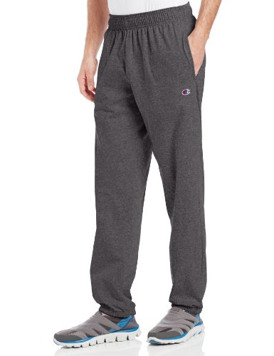 Champion Men's Closed Bottom Light Weight Jersey Sweatpant, Granite Heather, Medium
