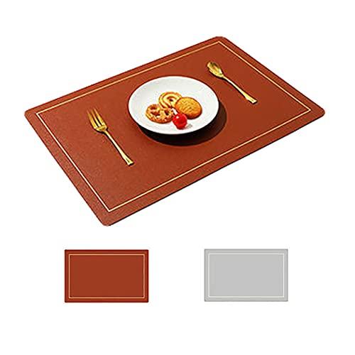 Salvamanteles de cuero impermeable antideslizante y antiaceite aislamiento cuchillo y tenedor taza tazón Hotel Home Vajilla Mat simple estilo escandinavo (marrón)