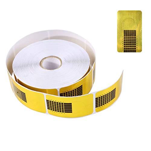 1 Rolle (500 Stück) Nagel Schablonen -Selbstklebende Nagelschablonen Verlängerungsfolie -Modellierschablonen Modellier für Nailart Gel-Nägel künstliche Nagel-Verlängerung (Gold)