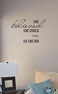 JS Artworks She Believed She Could so She Did Vinyl Wall Art Decal Sticker