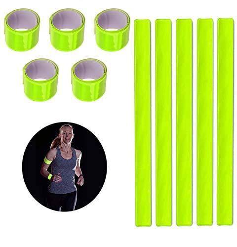QIMMU 16 Stück Reflektierendes Sicherheitsband,Schnapparmband Reflektorbänder,Reflektierendes Band,Reflektierendes Band Fahrrad für Outdoor Joggen,Laufen,Motorrad,Fahrrad