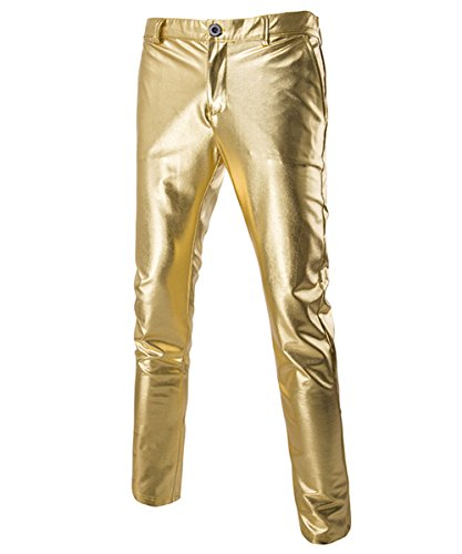 Boyland Calça masculina casual de couro sintético estilo motoqueiro metálico com frente reta e perna reta, Dourado, Medium
