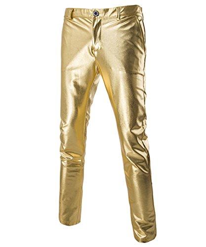 Hose Herren Lederhose Slim Fit Schnitt Night Club Party Heißprägen Leichte Stoffe Mit Taschen Gold, L