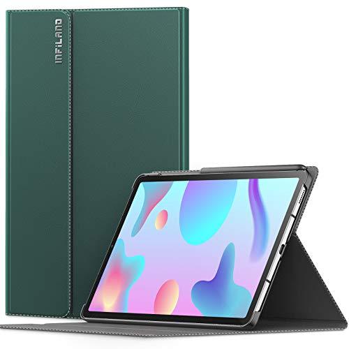 INFILAND Hülle für Samsung Galaxy Tab S6 Lite, Ultraleicht Halten Schutzhülle Hülle mit Auto Schlaf/Wach Funktion für Samsung Galaxy Tab S6 Lite 10.4 Zoll (SM-P615/P610) 2020,Dunkelgrün