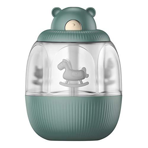 TOOGOO USB Carrusel de Escritorio Humidificador de Aire Difusor de Aceite de Aroma Colorido Humidificadores de Luz Nocturna Purificador de Aire DecoracióN del Hogar - Verde