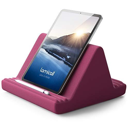 Tablet Halter Kissen, Lamicall Tablet Ständer - Kissenhalter Halterung Bett Sofa für New 2020 iPad Pro 9.7, 10.5, 12.9, iPad Air Mini 2 3 4, Switch, Tab, iPhone, Bücher, andere Tablet - Purpurrot