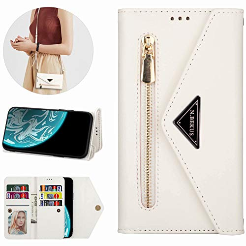 Miagon für Xiaomi Redmi Note 8 Pro Crossbody Reißverschluss Hülle,Brieftasche Geldbörse Handtasche mit Schulterriemen Flip Kartenhalter Ständer PU Leder Cover für Xiaomi Redmi Note 8 Pro