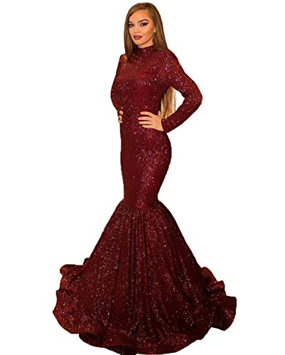Women's Sparkling Long Sleeves Mermaid Evening Party Gowns High Collar Sexy Open Back Prom Dresses 177 Burgundy
