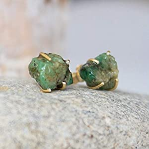 Green Raw Emerald Stud Earrings, 14K Gold