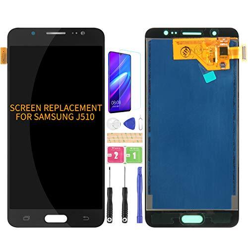 Para Samsung Galaxy J5 2016 J510 J510F J510F/DS J510G/DS Pantalla LCD Reemplazo Digitalizador Kits de Asamblea de Cristal, Película Templado Gratuita, Pegamento y Herramientas (Negro)