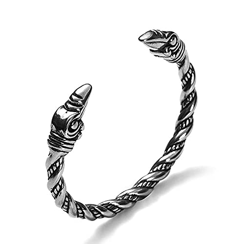 1Pcs O 2Pcs Pulsera de Cuervo Vikingo Fenrir/Odin para Hombre de Acero Inoxidable Sólido, Apertura, Amuleto Pagano Celta Nórdico, Ciclista, Antiestático, Hermoso Regalo,Crow