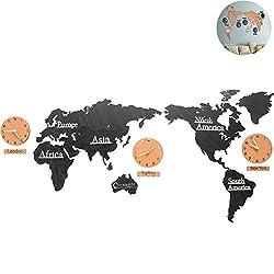 WINGOFFLY Creative DIY Home Decoration World Map Wall Clocks World Time Hanging Clocks (Black 53)