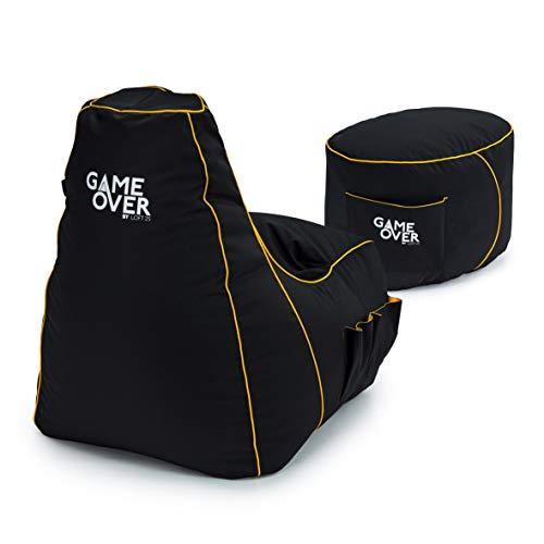 Game Over Combo Puff Pera para Video Juegos y Reposapiés | Interiores Exteriores | Bolsillos Laterales para Controles | Soporte para Auriculares | Diseño Ergonómico para Gamers (Mystic Medallion)