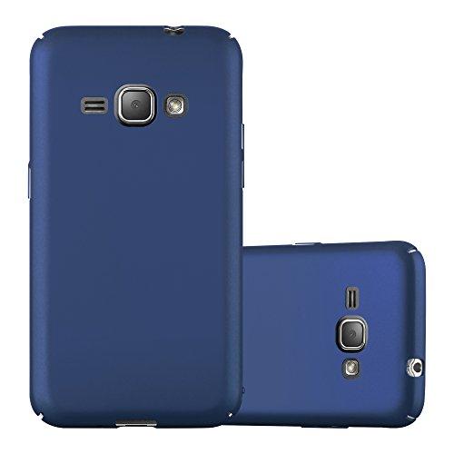 Cadorabo Hülle für Samsung Galaxy J1 2016 in Metall BLAU – Hardcase Handyhülle aus Plastik gegen Kratzer & Stöße – Schutzhülle Bumper Ultra Slim Back Hülle Hard Cover