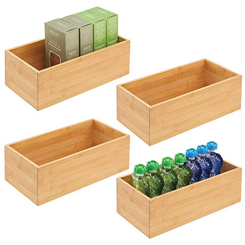 mDesign Bamboo Kitchen Cabinet Drawer Organizer Stackable Tray Bin - Eco-Friendly, Multipurpose - Use in Drawers, on Countertops, Shelves or in Pantry - 4 Pack - Natural Wood Finish