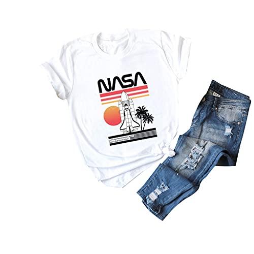 KIACIYA NASA Core Logo Camiseta,NASA Camiseta para Hombre Mujere,Casual,Astronaut,Space,Marte,Moon,Rocket,Cuello Redondo,Manga Corta (White,4XL)