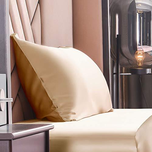 THXSILK Seide Kissenbezug 19 Momme mit Reißverschluss, Beide Seiten Natürliche Maulbeerseide Seidenbezug für Kissen, Haar und Haut Pflege (Gold+Champagner, 40x80cm)