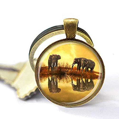 Elefanten-Schlüsselanhänger, Elefanten-Schmuck, Elefanten-Liebhaber, Geschenk, Elefanten-Kunstdruck, orange