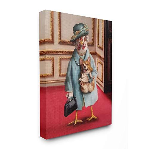 Stupell Industries Queen Chicken with Corgi Regal Animal Humor, Design von Lucia Heffernan, 40,6 x 50,8 cm