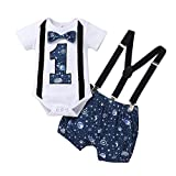 Dimoybabe Baby Boy First Birthday Clothes Infant Cute Romper Suspender Outfits Bow Tie Y Back Pants Sky Blue 12-18 Months 100cm
