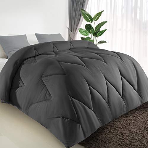 COMOOO All Season Down Alternative Comforter Queen Size, Ultra Soft Hypoallergenic Duvet Insert with 8 Corner Tabs, Machine Washable Lightweight Plush Microfiber Warm Bed Comforter (Queen, Grey)