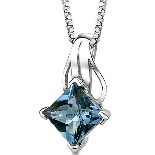 Peora London Blue Topaz Princess Cut Pendant Necklace...