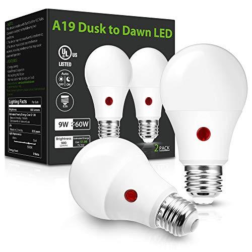 LOHAS Dusk to Dawn Light Bulbs Outdoor, Light Sensor Bulb 60W Equivalent, A19 LED Bulb Daylight 5000K, 9W Photocell Sensor LED, 900LM Auto On/Off Porch Light, E26 Base for Garage, UL Listed, 2Pack