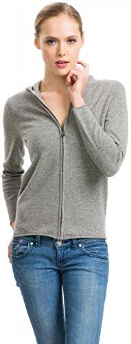 Citizen Cashmere Women's Grey Zip Hoodie - 100% Cashmere (41 102-05-02), Medium
