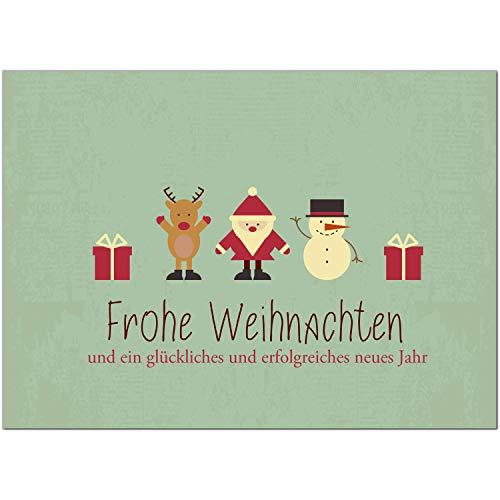 15 x moderne Weihnachtskarten mit Umschlag, Motiv Moderner Vintage Look mit weihnachtlichen Symbolen (Türkis grün) - Grußkarten im Postkarten Format/Weihnachten/im Set