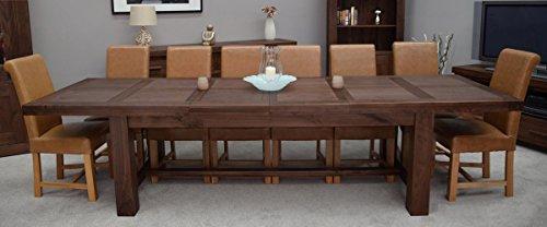 Mesa de comedor extensible de madera de nogal Homestyle GB, con tamaño de78x 100x 220cm (Al x An x L), extensible a 270o 320cm